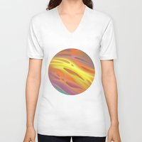 aurora V-neck T-shirts featuring Aurora by Ma. Luisa Gonzaga
