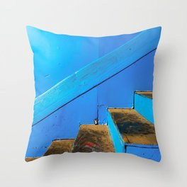 blue and brown old wood stairs with blue wall background Throw Pillow