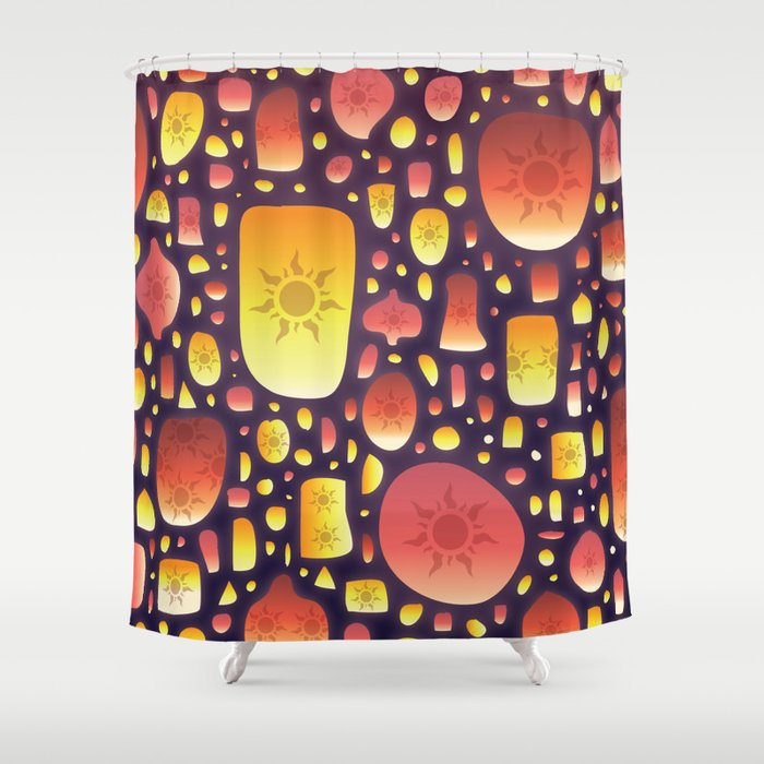 tangled lanterns pattern shower curtain by cinacatteau society6