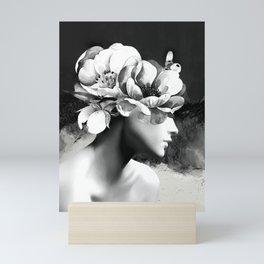 Floral Portrait-black and white Mini Art Print