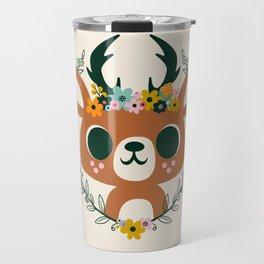 Deer with Flowers / Cute Animal Travel Mug
