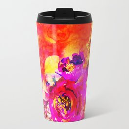 pink orange abstract floral Travel Mug