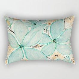 Blue Green and Beige Flower Mix Pattern - Floral Watercolor Custom Art Design Rectangular Pillow