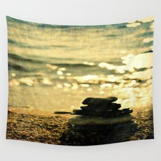 Balanced Pebbles On The Seaside Wall Tapestry