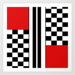 Red & Black Geometric Square Abstraction Art Print