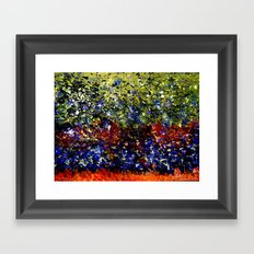 Abstract Painting  - Title: Wild Geese in Flight over Wetland Framed Art Print