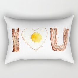 Bacon and Egg LOVE I Heart You Food Lovers Rectangular Pillow