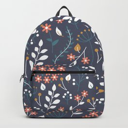 Autumn Floral Blue Backpack