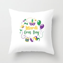 Mardi Gras Day Street Party Carnival Gift Throw Pillow