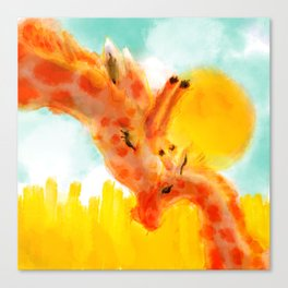 Sweet Painting of A Mother Giraffe and Her Baby Cuddling Under the Sun Nursery Room Decor Canvas Print