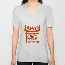 Japan 2019 Rugby Ball Pagoda Unisex V-Neck