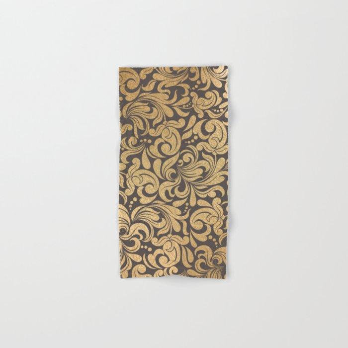 Gold foil swirls damask #11 Hand & Bath Towel