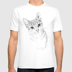A Sketch :: Cat Eyes Mens Fitted Tee White MEDIUM
