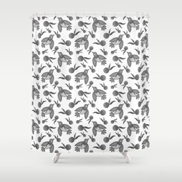 Grey little pretty swallows birds, sunny bright oranges vintage retro black and white pattern Shower Curtain