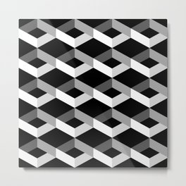 Geometric Grey and Black Abstract Patterns Metal Print