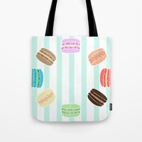 macarons Tote Bags featuring Macarons by ASHEFACE DESIGNS