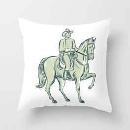 Cavalry Officer Riding Horse Etching Throw Pillow