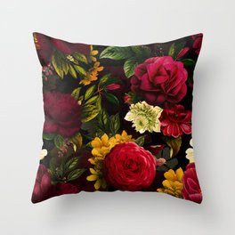 Mystical Night Roses Bouquet Throw Pillow
