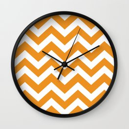Carrot orange - orange color - Zigzag Chevron Pattern Wall Clock