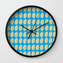 Golden Daisy Swimming in Blue Wall Clock