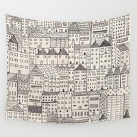 city Wall Tapestries featuring city by rubyetc