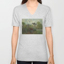 The Artist's Garden in Argenteuil (A Corner of the Garden with Dahlias) by Claude Monet (1873) Unisex V-Neck