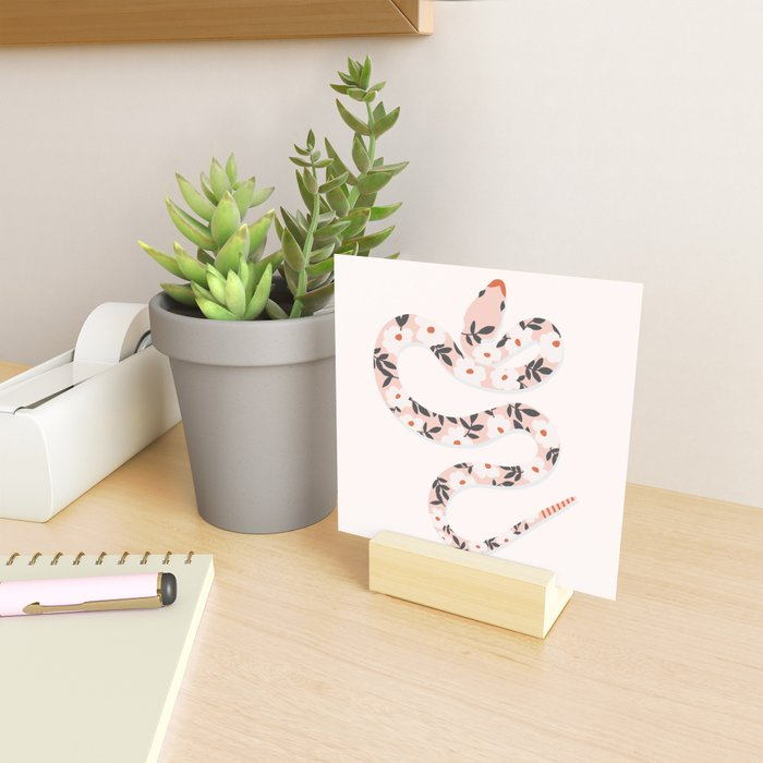 Garden Snake | Pale Pink Mini Art Print