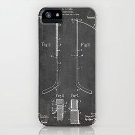 Ice Hockey Stick Patent - Ice Hockey Art - Black Chalkboard iPhone Case