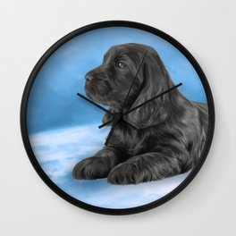 English Cocker Spaniel puppy, Drawing Wall Clock