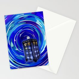 Blue Phone Box with Swirls Stationery Cards