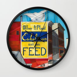 Small Town America - Buildings, Lancaster, Pennsylvania by Charles Demuth Wall Clock