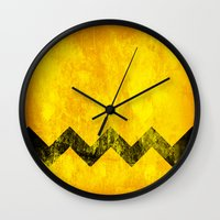 charlie brown Wall Clocks featuring Distressed Charlie Brown by Leah M. Gunther Photography & Design
