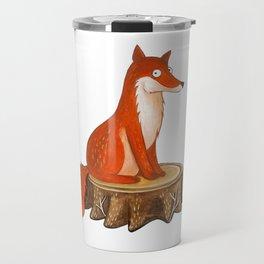 Silly Cute Fox, foxy, illustration, watercolor, wood, adorable, children, kid, decoratin Travel Mug
