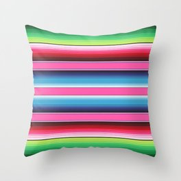 Pink Green Blue Mexican Serape Blanket Stripes Throw Pillow