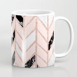 Rose gold glitter chevron herringbone black white marble pattern Coffee Mug