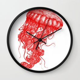 Jellyfish (Red on White Variant) Wall Clock