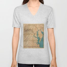 Vintage Map of Virginia and The Chesapeake Bay (1862) Unisex V-Neck