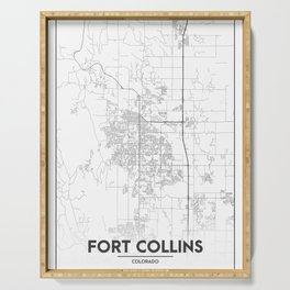 Minimal City Maps - Map Of Fort Collins, Colorado, United States Serving Tray