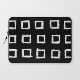Square Stroke Dots White on Black Laptop Sleeve