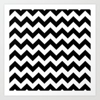 chevron Art Prints featuring Chevron (Black/White) by 10813 Apparel