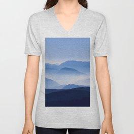 Blue mountains landscape Unisex V-Neck