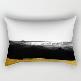 Black and Gold grunge stripes on clear white background - Stripe - Striped Rectangular Pillow