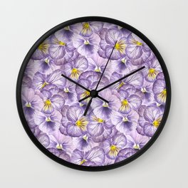 Watercolor floral pattern with violet pansies Wall Clock