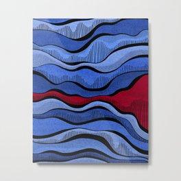 Blue Waves With Interrupting Red Metal Print