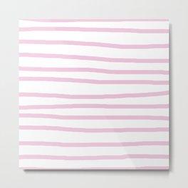 Simply Drawn Stripes in Blush Pink on White Metal Print