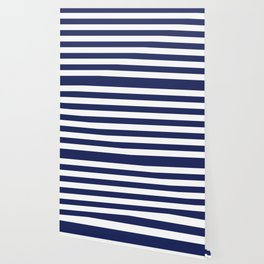 Navy Blue and White Stripes Wallpaper