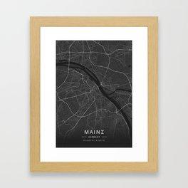 Mainz, Germany - Dark Map Framed Art Print