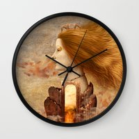 fez Wall Clocks featuring Persephone by Diogo Verissimo