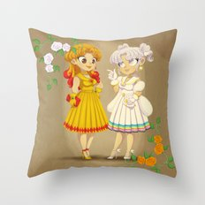 Retro Sailor Galaxia & Cosmos Throw Pillow
