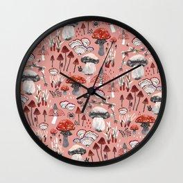 Fungi Farmer Land (Mushroom Land) - RED Wall Clock